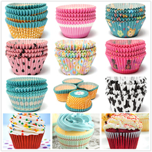100pcs Colorful Paper Cupcake Cup Liner Case Wrapper Muffin Baking Mold Cake Shop tools party decoration 5 colors Free shipping