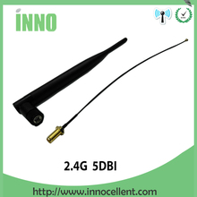 2pcs lot 2.4 GHz 5dBi WiFi Antenna Aerial RP-SMA Female Wireless Router +21cm PCI U.FL IPX to RP SMA Male Pigtail Cable
