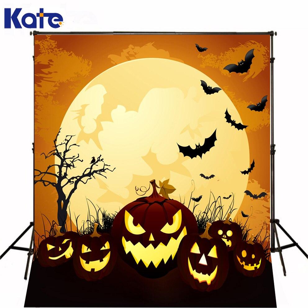 Green Screen Big Moon Fire Pumpkins Bats Halloween Backdrops Kate Background Backdrop<br>