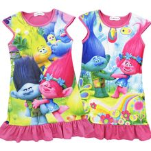 2017 Trendy Trolls Printed Girl Dress Summer One Piece Dresses Kids Casual Clothes Jumper Children Clothing casual wears