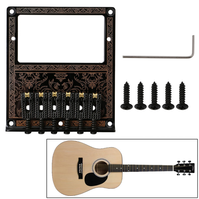 Black Guitar Bridge 6 Saddles Ashtray Bridge For TL Electric  Double Pickup Guitar Parts Musical Instruments Base Accessories<br><br>Aliexpress