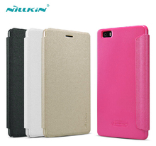 NILLKIN Brand Sparkle Super Flip Cover Leather Case For Huawei P8 LITE Smart Sleep Wake Function Phone Case