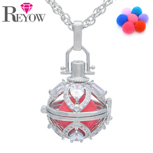 Aromatherapy Jewelry White Gold Zircon Crystal Flower Locket Cage Pendant Essential Oil Diffuser Necklace With 7 Colors Pompons(China)