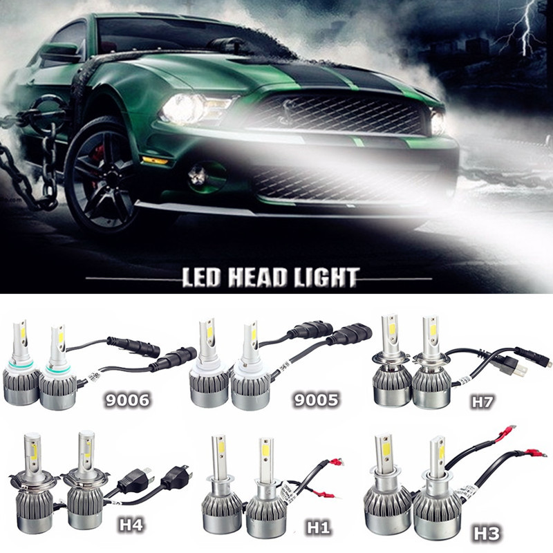 2Pcs 9005 9006 H1 H3 H7 H4 Double Beam 72W 7600LM Car Auto LED COB Lights Night Driving Headlight Lamp Bulb White 6000K DC 9-36V<br><br>Aliexpress