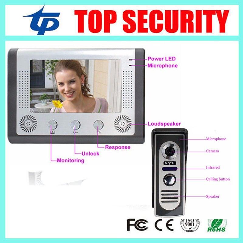 Good quality 7 inch color screen video door phone intercom door bell system with IR camera hands- free monitor video door bell<br>