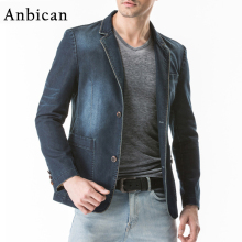 Anbican Brand High Quality Denim Blazer Men 2017 Fashion Slim Fit Men Blazer Designs Plus Size Casual Jeans Blazer Jackets as158