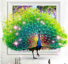 2017 Needlework cross stitch embroidery Peacock picture diamond mosaic Diy 5D diamond Painting Full diamond gift Home Decoration