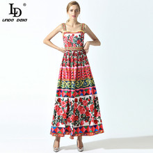 High Quality 2017 Summer New Runway Maxi Dress Women's Spaghetti Strap Cute Charming Rose Flower Floral Print Beading Long Dress(China)