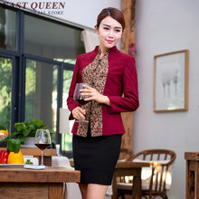 Restaurant waitress uniforms long sleeve waitress uniform pastry chef uniforms housekeeping clothing catering clothing NN0168  W