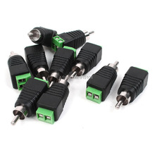 10pcs/lot UTP Cat5 Cat6 Cable Phono RCA Male Plug to AV Screw Terminal Audio Video Connector CCTV Balun