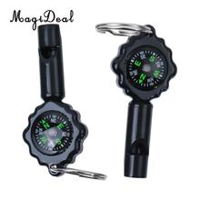 MagiDeal High Quality Professional Military Compass Pack of 2 2 in 1 Whistle Keychain Compass for Outdoor Camping Hiking Sport