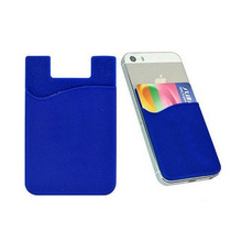 2pcs Silicone Cell Phone Wallet Case Credit ID Card Holder Pocket Stick On 3M Adhesive Black Red Blue Grass Green Cyan for Phone(China)
