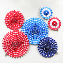 HAOCHU 6pcs Foldable Blue Red Dot Tissue Paper Fan Hanging Pinwheel Party Decorations Wedding Baby Shower Backdrop Favors(China)
