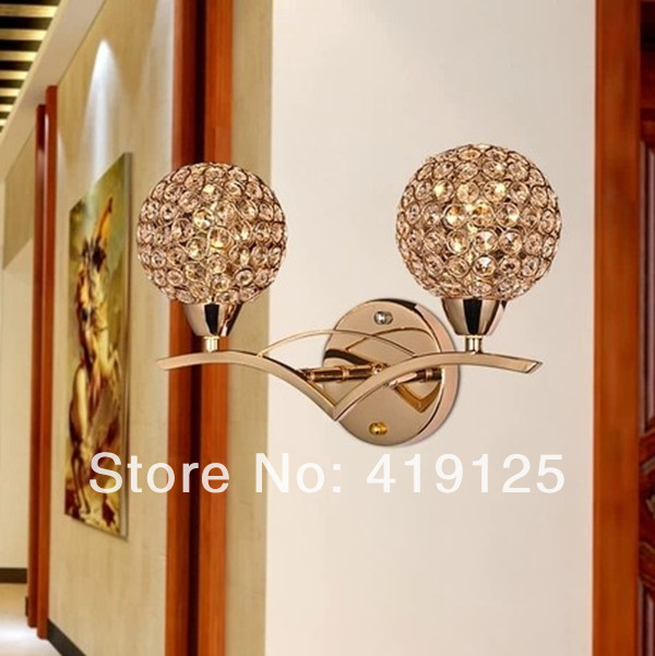 Free shipping Brief modern crystal double slider gold wall lamp ofhead mirror stair wall frha b22<br><br>Aliexpress