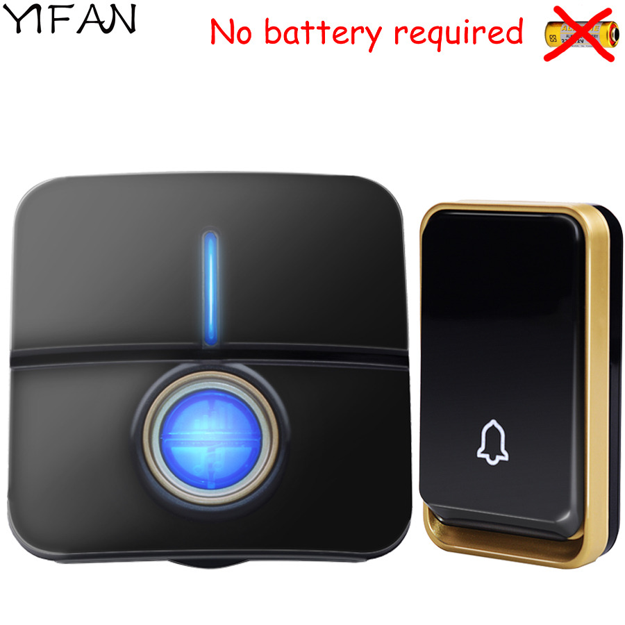 YIFAN 2017 NEW Wireless doorbell NO BATTERY 51 Music 150M Remote Door bell chime EU Plug LED light AC 110-220V 1 2 Button 1 2 receiver 0