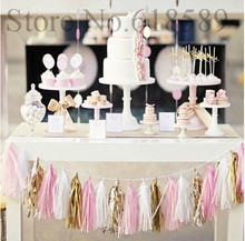 14 inch (35cm) Tissue Paper Tassel Garland DIY Wedding Decorations Happy Birthday Decoration Event Pack Decoration 1pack=5pcs