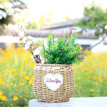WHISM Handmade Storage Basket Wicker Artificial Flower Baskets Straw Rattan Green Plant Flower Pots Home Garden Decoration(China)