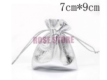 Free Shipping 100pcs/Lot 7x9cm Silver Plated Satin Gift Bags Fashion Jewelry Charms Gifts Packaging Bag Pouches Small Gift Bag