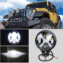 6 Inch 60W Led Fog Light Round Driving Day Light Spotlight 12V 24V Headlight For Jeep 4x4 4WD Offroad With X Angle Eyes(China)