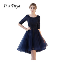 It's YiiYa 2017 Cheap O-neck Deep Blue Red Half Sleeves Lace Cocktail Dress Simple A-line Knee-Length Formal Dresses L173(China)