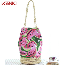 KEENICI Sackpack Straw Summer Beach Bag Fresh Fruit Watermelon Printing Tote Women Bucket Bag Canvas Shoulder Bag Woven HandBags(China)