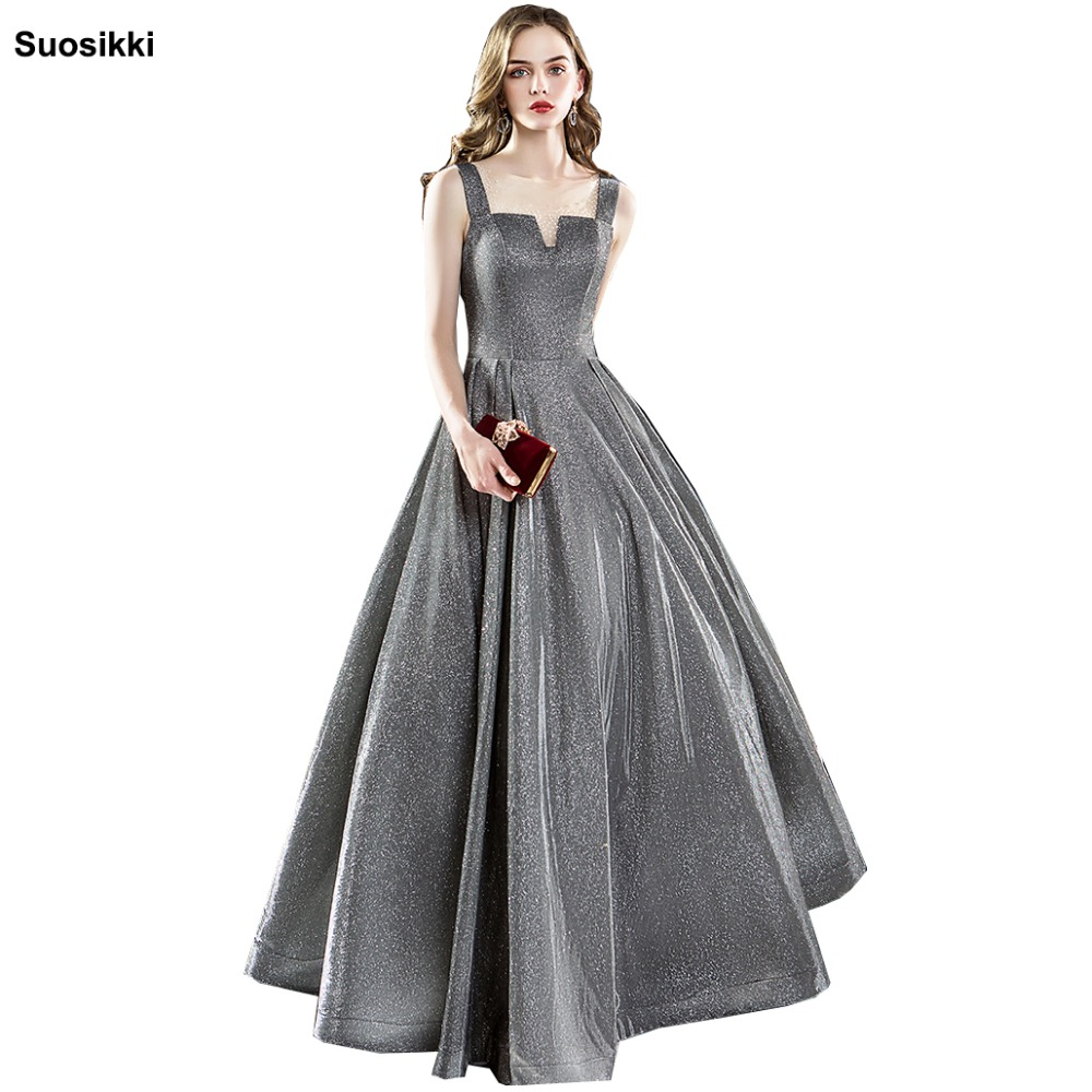 Suosikki 2018 New Personality Evening Dress vestido de festa Sexy Black Long Sequin prom gowns Formal Party dress(China)