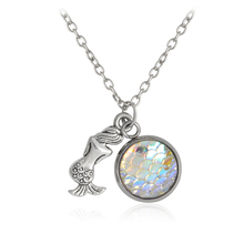 Mermaid Multicolor Fish Scales Pendant Necklace For Women Girl Silver Color Chain Fashion Jewelry Special Gift