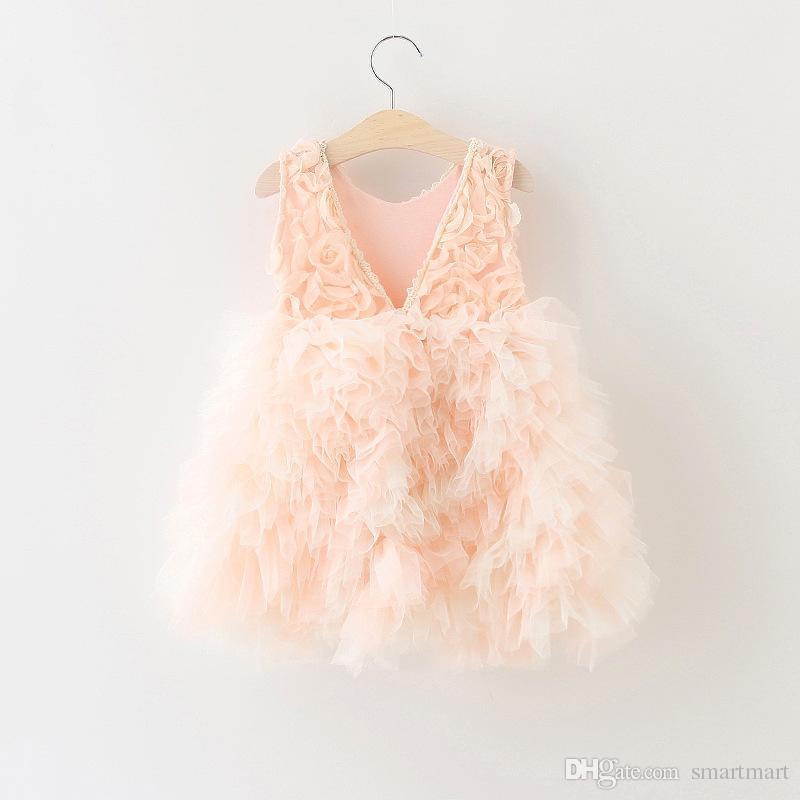 Christmas Kids Girls Tutu Rose Flower Dress Ruffles Backless Pink Color Party Dress Princess Holiday Christmas Dress<br><br>Aliexpress