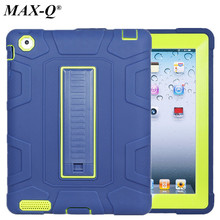 "Hybrid Heavy Duty Rugged Combo Silicone Hard Back Cover Case for iPad 2 3 4 9.7"" Retina Kids Safe Tablet Case With Kickstand(China)"