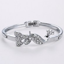2015 New Wholesale Austria Crystal Bangle Silver Plated Bracelets Bangles Peacock Shape Bracelet For Women
