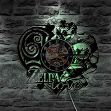 1Piece The Legend of Zelda Ocarina Of Time Vinyl Record Wall Lamp Zelda Fan Gift Idea LED Wall Clock Made of Vinyl LP Record