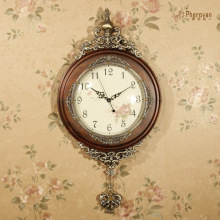 Luxury fashion wall clock wood pendulum clock wall rustic mute vintage decoration clock
