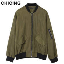 CHICING Fashion Bomber Women Stand Collar Zipper Pockets Jacket High Street Autumn Winter Motorcycle Coats Ladies B1509180(China)
