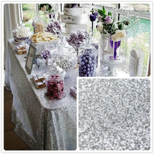 "48''x72"" Silver Sequin Tablecloth wholesale Wedding Beautiful Sequin Table Cloth / Overlay /Cover"