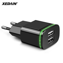 XEDAIN 2.1A Wall Charger Mini Dual Ports 2 USB LED Light Fast Charging Power Adapter High Quality Phone USB Fast Charger EU Plug