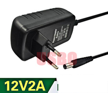 Europe Standard 5.5*2.5mm DC Charger Monitor Power Adapter 12V 2A Power Supply Black Quality Assurance Hot Sale