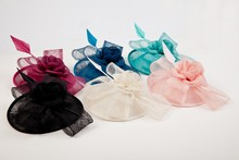 LADY Vintage Feather Sinamay Fascinator Hair Clip Feather Hat For Horse Racing Party&wedding Royal Blue Black Pink/Brown/coral