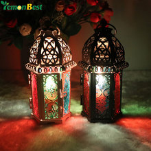 Vintage Moroccan Decor Lanterns Hollow Candlestick Candle Holder Windproof Lantern Candle Holders For Wedding Home Decoration(China)