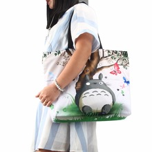 Cute Totoro Soft Zipper Shopping Bag Womens Girls Shoulder Shopping Tote Bag School Handbag Mom Bag Eco Reusable Free Shipping(China)