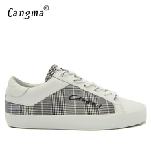 CANGMA Brand Canvas Sneakers Shoes Italian Man Handmade Black And White Plaid Flats Male Shoes Comfortable Mens Retro Footwear(China)