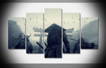 Large Framed Modern Indoor samurai warriors sucker punch  print canvas decoration 5 pieces