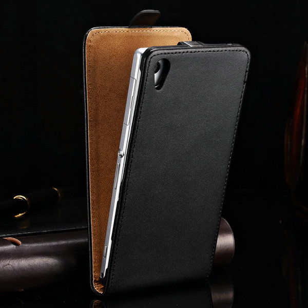 Flip Case for SONY Xperia Z3 D6643 D6653 D6603 Cover Luxury Genuine Leather Back Cases For Sony Xperia Z3 Black Brown(China)