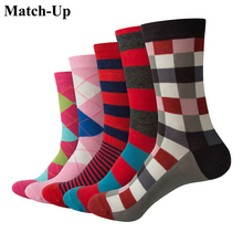 Match-Up Men Argyle and Stripe  Cotton Crew socks  Business Socks  (5 pairs / lot )