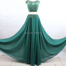 Dressy New Star Luxury Girl A line Two Piece Prom Dress 2017 Cap sleeve Crystal Beaded Prom Dresses Real Picture