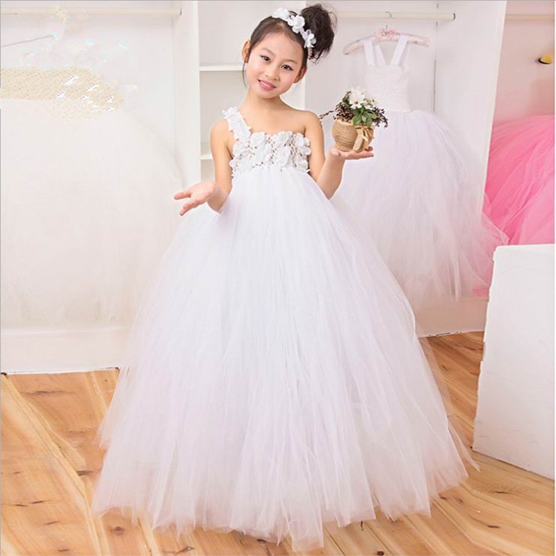 White, Pink,Purple Girl Flowers TuTu Dress Tulle Flower Girl Dresses For Party And Wedding Kid Baby Birthday Dress Vestidos 1-8Y<br>