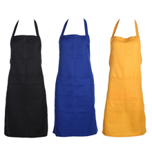 Kitchen Apron Unisex Solid Cooking Kitchen Restaurant Cleaning Accessory Polyester Bib Apron Dress with Pocket Black/Blue/Yellow