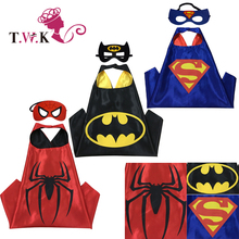 Superhero cape(1 Cape +1 mask) Superman batman spiderman superhero costume kids Halloween party costumes for Christmas(China)