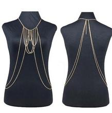 D Exceed new arrival fashion punk cheap sexy gold plated multilayer body chain for women