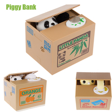 White / Yellow Cat Panda Automatic Stealing Coin Cat Kitty Coins Penny Cents Piggy Bank Saving Box Money Box Kid Child Gift
