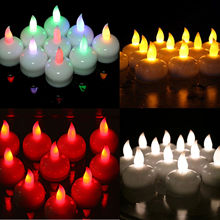Colorful Waterproof Tealight LED Floating 12 White Amber LED Tea Light Flameless Candle Wedding Party